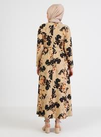 Cream - Floral - Unlined - Crew neck - Plus Size Dress