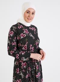 Plum - Floral - Unlined - Crew neck - Plus Size Dress