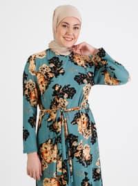 Turquoise - Floral - Unlined - Crew neck - Plus Size Dress