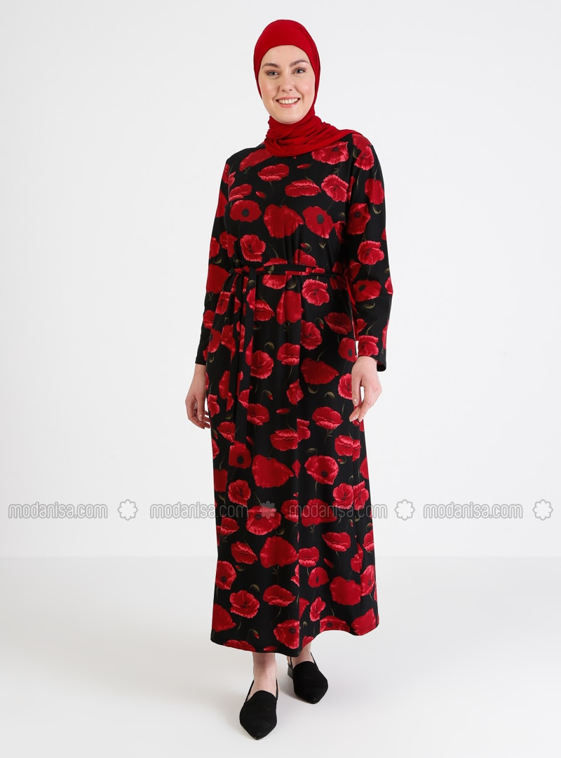 Maroon - Floral - Unlined - Crew neck - Crew neck - Plus Size Dress