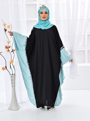 Mint - Black - Unlined - Crew neck - Abaya