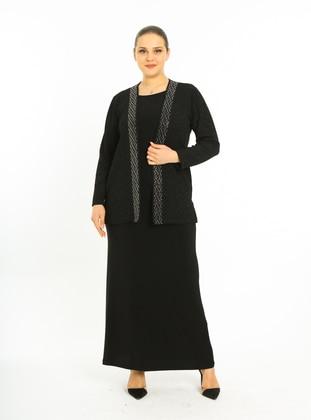 Black - Crew neck - Unlined - Plus Size Evening Suit - Arıkan