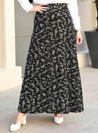 Black - Floral - Unlined - Skirt
