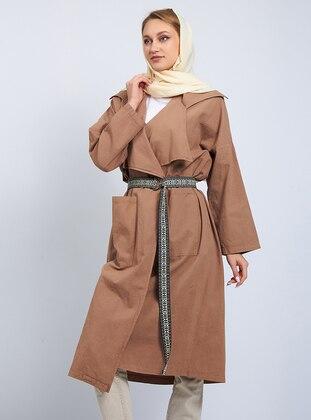 Brown - V neck Collar - Trench Coat