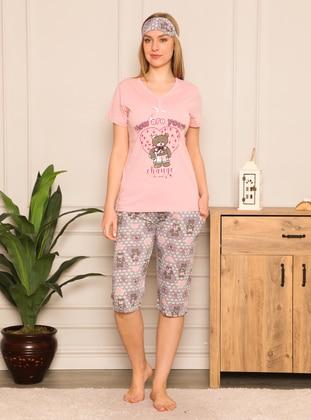 Dusty Rose - Crew neck - Multi - Pyjama Set