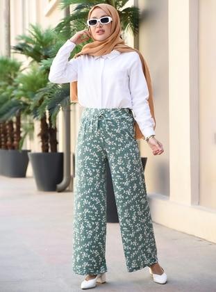 Green Almond - Floral - Pants