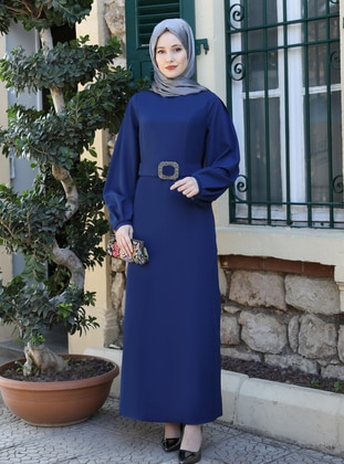 Indigo - Crew neck - Unlined - Modest Dress