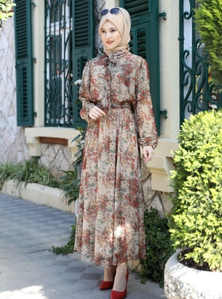 Mink - Multi - Crew neck - Fully Lined - Modest Dress