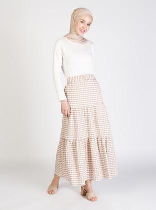 Beige - Gingham - Half Lined - Skirt