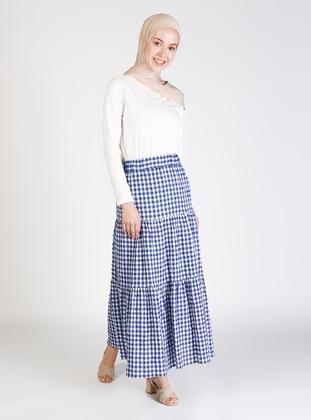 Navy Blue - Gingham - Half Lined - Skirt