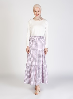 Lilac - Gingham - Half Lined - Skirt