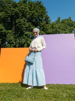Blue - Gingham - Half Lined - Skirt