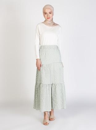 Mint - Gingham - Half Lined - Skirt