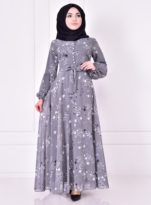 Gray - Modest Evening Dress