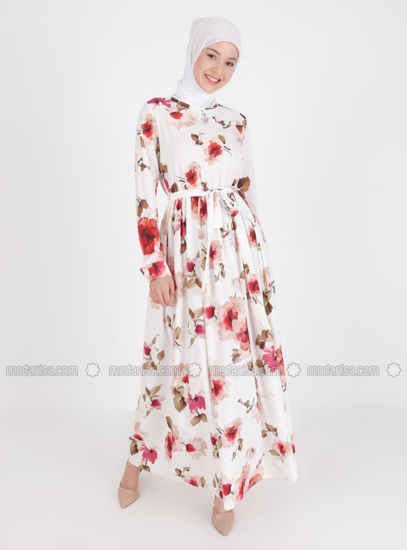 Ecru - Floral - Crew neck - Unlined - Modest Dress