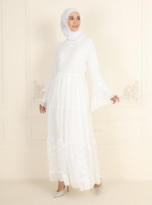 White - Ecru - Fully Lined - Crew neck - Modest Evening Dress