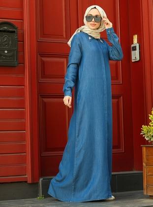 Dark Blue - Point Collar - Abaya
