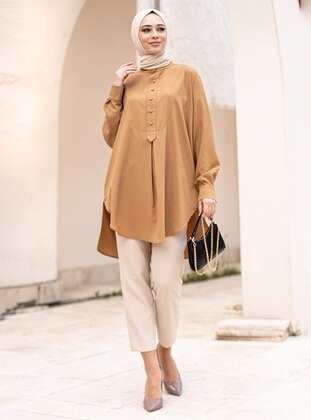 Camel - Button Collar - Tunic