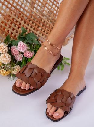Tan - Brown - Sandal - Slippers