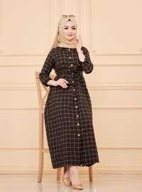Tan - Plaid - Point Collar - Unlined - Modest Dress