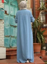 Blue - Unlined - Crew neck - Abaya