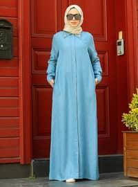 Blue - Point Collar - Abaya