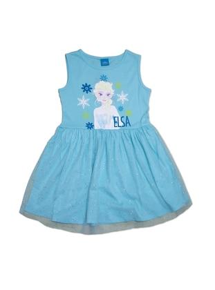 Multi - Crew neck - Turquoise - Girls` Dress