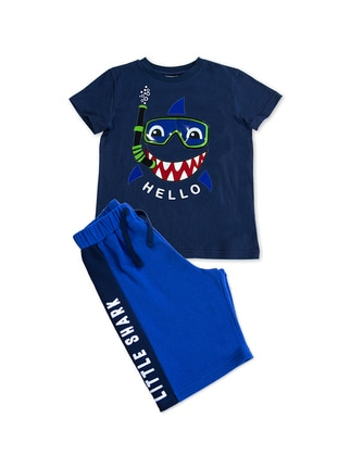 Multi - Crew neck - Navy Blue - Boys` Suit