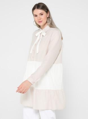 White - Stripe - Round Collar - Plus Size Tunic