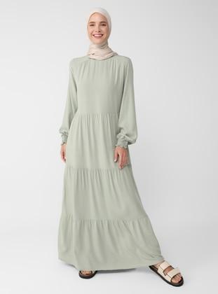 Green - Crew neck - Unlined - Viscose - Modest Dress