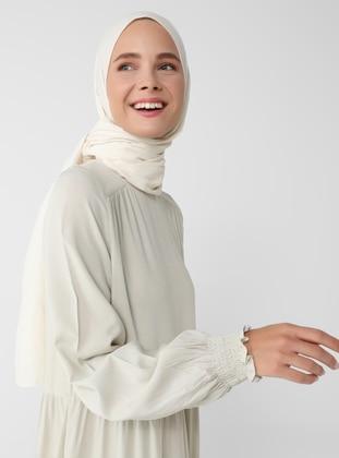 Beige - Crew neck - Unlined - Viscose - Modest Dress