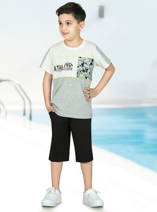 Multi - Crew neck - Unlined - Gray - Boys` Pyjamas - Özkan Underwear