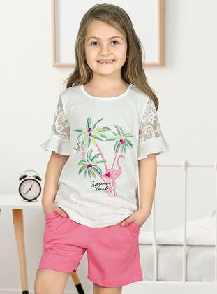 Multi - Crew neck - Unlined - Ecru - Girls` Pyjamas - Özkan Underwear