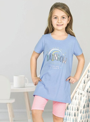 Multi - Crew neck - Unlined - Lilac - Girls` Pyjamas - Özkan Underwear