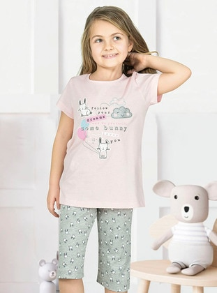 Multi - Crew neck - Unlined - Pink - Girls` Pyjamas
