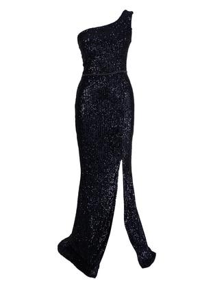 Fully Lined - Navy Blue - Evening Dresses - MEKSİLA