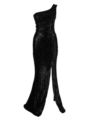Fully Lined - Black - Evening Dresses - MEKSİLA