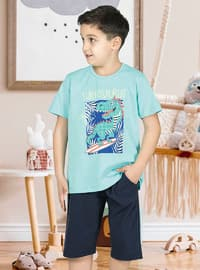 Multi - Crew neck - Unlined - Turquoise - Boys` Pyjamas