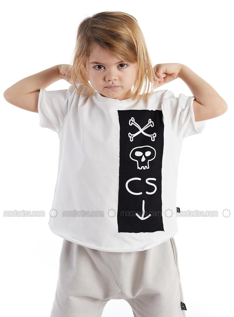 Printed - Crew neck - Unlined - White - Boys` Sweatshirt