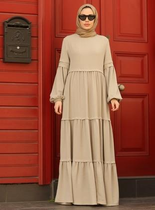 Beige - Crew neck - Modest Dress