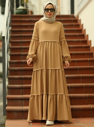 Camel - Crew neck - Modest Dress