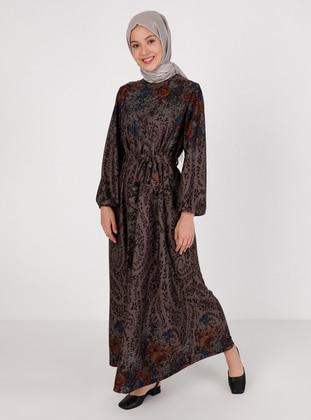 Brown - Mink - Multi - Crew neck - Unlined - Modest Dress