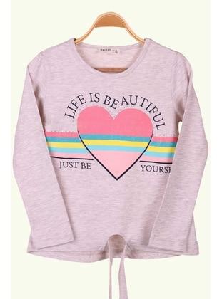 Beige - Girls` T-Shirt