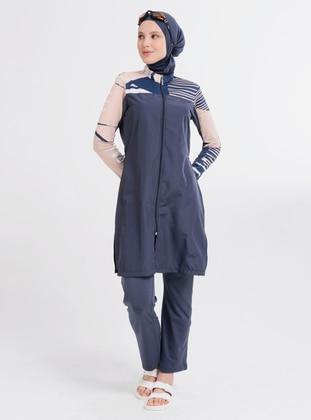 Anthracite - Multi - Fully Lined - Full Coverage Swimsuit Burkini - Alfasa