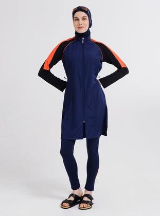 Navy Blue - Multi - Fully Lined - Full Coverage Swimsuit Burkini