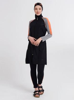Black - Multi - Fully Lined - Half Coverage Swimsuit - Alfasa