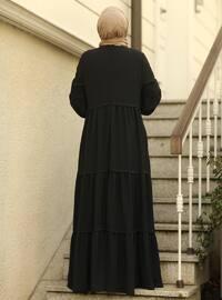 Black - Crew neck - Modest Dress