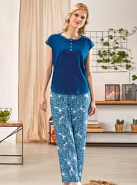 Blue - Crew neck - Multi - Pyjama Set