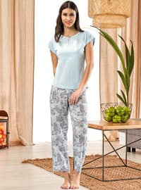 Blue - Crew neck - Multi - Pyjama Set