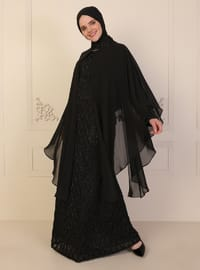 Black - Fully Lined - Crew neck - Modest Plus Size Evening Dress